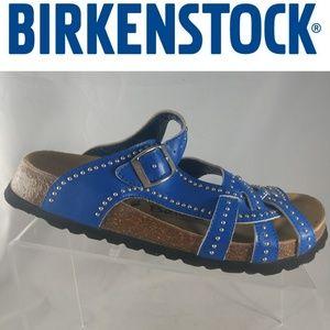 BIRKENSTOCK'S BETULA BLUE STUDDED LEATHER SANDALS